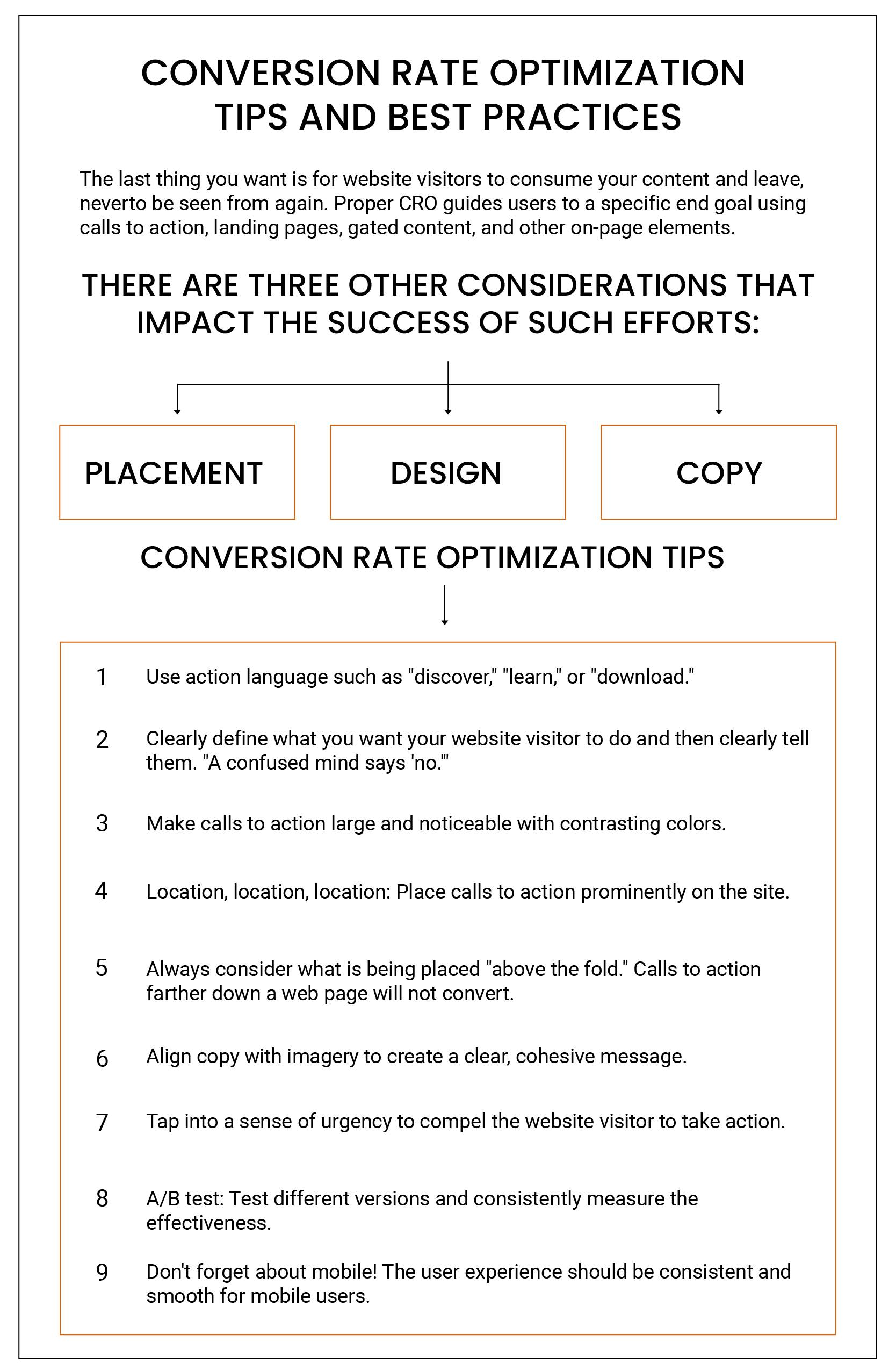 conversion optimization tips and best practices infographic