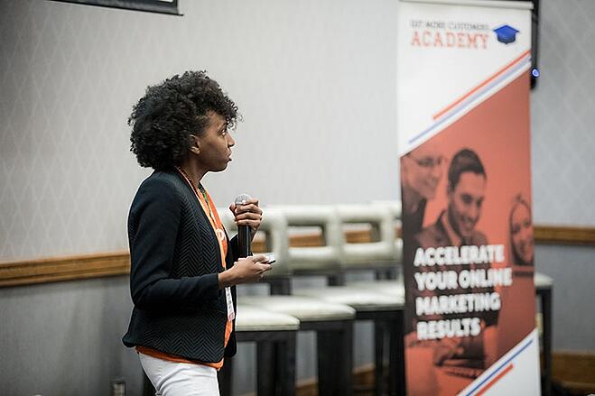 get more customers academy shadrena simon speaking at event