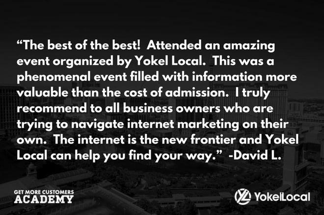 get more customers academy testimonial david l